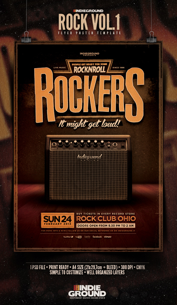 New Flyer Rock Vol 1 Indieground Graphic Design Blog Flyer – Band Flyer Template